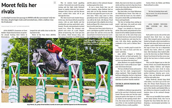 Horse & Hound Magazine 15th June Anja Moret.JPG